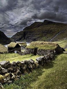 Ancient stone house in the Faroe Islands. The Faroe islands are tucked between Iceland and Norway, about 200 miles NW of Scotland. Places To Travel, Places To See, Travel Destinations, Image Nature, England And Scotland, Faroe Islands, Scotland Travel, Ireland Travel, Belle Photo