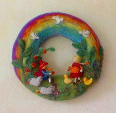 Gefilzter Kranz aus Wolle www.farbtraeume.me
