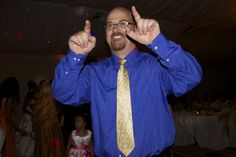 DJ Kevin Hall leading the wedding party in a dance at Lake Natoma Inn in Folsom, CA