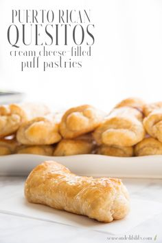Quesitos are probably the most popular Puerto Rican pastry. A sweet cream cheese filling is wrapped in puff pastry and finished with a simple glaze. Cream Cheese Pastry, Puff Pastry Dough, Puff Pastry Sheets, Puff Pastry Recipes, Cream Cheese Filling, Savory Pastry, Choux Pastry, Puff Pastries, Comida Boricua