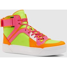 Gucci New Basketball Neon Leather High-Top Sneaker ($805) ❤ liked on Polyvore featuring shoes, sneakers, women's shoes, orange sneakers, yellow sneakers, neon high top sneakers, gucci high tops and neon yellow shoes