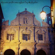 """Nel quartiere Stampace di #Cagliari, c'è la bella chiesa gesuitica in stile barocco di San Michele. Particolare la sua facciata, sulla via Azuni, orientata in modo perpendicolare rispetto all'ingresso"""" #postcardfromcagliari by @qilyahn"""