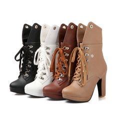 Nova chegada 2014 outono inverno moda botas de salto alto tornozelo para as mulheres rendas até sapatos de neve de inverno plataforma Motrocycle botas em Botas de Sapatos no AliExpress.com   Alibaba Group