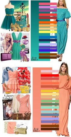 How to Combine Colors when Choosing Clothes (coral & aqua my 2 favorite colors AG ) Colour Combinations Fashion, Color Combinations For Clothes, Fashion Colours, Colorful Fashion, Color Combos, Colourful Outfits, Color Schemes, Look Fashion, Fashion Outfits