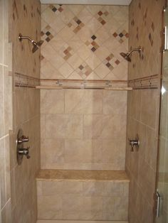 This Master Bathroom Features A Glass Doored Two Person Walk In Shower Stall  With Dual Rain Shower Heads And Water Controls, And A Built In Bench.