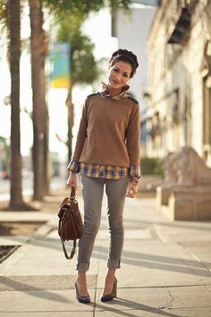 11.11 autumn plaid: cozy sweater & art (Zara sweater + Mike & Chris plaid shirt + Paige grey jeans + Yves Saint Laurent heels + Proenza Schouler bag) Wendy's Lookbook