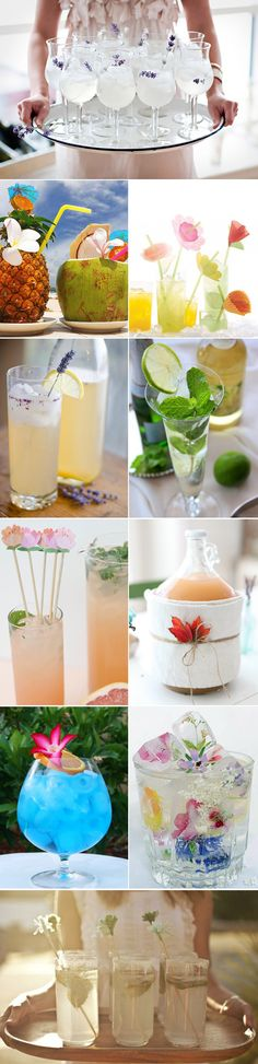 wedding signature drinks with floral and green
