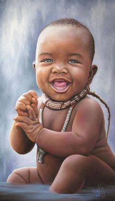 N°54 de la serie Niños de África. Colección RETRATOS DE LA INOCENCIA  Óleo sobre Lienzo  40 x 70 cm  2012