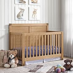 Crafted with a rustic natural finish, the Baby Relax Ridgeline 4-in-1 Convertible Crib features natural elements such as a sturdy wood construction, and a full panel headboard with horizontal slats details all of which are accentuated by wood grain detailing. Bring the outdoors into your nursery room with the entire Ridgeline Collection!