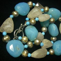 Blue Chalcedony, Rutilated Quartz, Pearl, Turquoise, Silver Necklace
