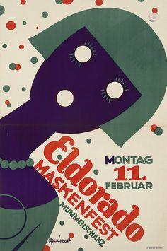 Poster for an El Dorado Mask Dance in Dresden (1929) by Rudolf Pfennigwerth. via Susanlenox on Flickr