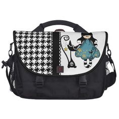 Girly Cute Goth Doll with Black Cat Laptop Messenger Bag