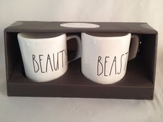 "RARE! RAE DUNN~GIFT BOX~""BEAUTY"" & ""BEAST"" COFFEE MUG/CUP~FAST*FREE*SAFE*SHIP* 