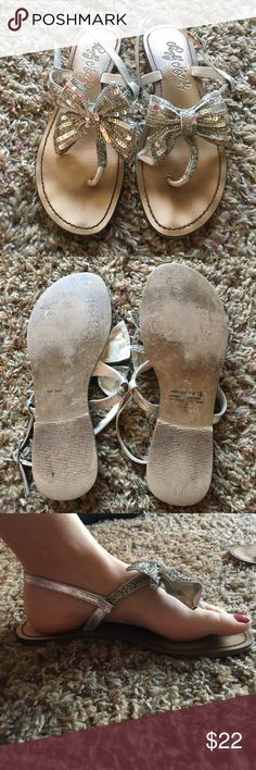 Bow sandals Super cute silver sequined bow sandals. Size 9 naughty monkey Shoes Sandals