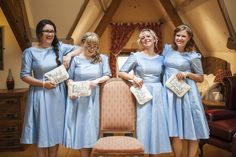 Love love love the color of these dresses! Vintage Cornflower Blue Wedding http://eleanorjaneweddings.co.uk/