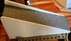 DIY dog bed ramps. Build indoor dog ramps to get your dog up into bed and onto the couch!