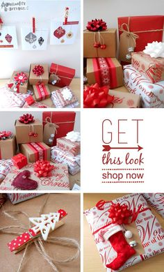 Red, white and brown Christmas gift wrap ideas. Homemade Christmas, Diy Christmas Gifts, All Things Christmas, Christmas Time, Holiday Gifts, Christmas Decorations, Wrapping Ideas, Gift Wraping, Christmas Gift Wrapping