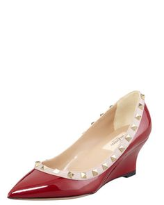 Rockstud, Patent Leather Wedge Pump by Valentino at Bergdorf Goodman.