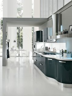 Cucine Moderne - linea retta e curva | Modern Kitchen | Pinterest ...
