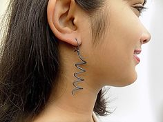 titanium earrings spiral earringsblue earringslight by atermono Blue Earrings, Earrings Handmade, Sensitive Skin, Spiral, I Shop, Gift Ideas, Silver, Jewelry, Jewlery