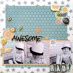 Scrap The Boys: May Sketch Challenge: RAD layout by Amanda Baldwin featuring Cocoa Vanilla Studio : Totally RAD collection