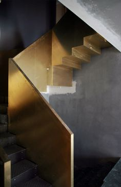 Brass stair, Beniamino Servino Detail Architecture, Interior Architecture, Interior Exterior, Interior Stairs, Interior Design, Stair Railing, Stair Steps, Railings, Decoration