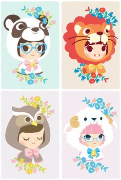 Little heads by Clémentine Derodit, via Behance. Cute character illustration from a designer based in Lyon France. Love the bright colours and the charming style of the animal faces.