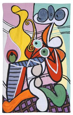 PABLO PICASSO - MODERN ART WALL TAPESTRY GRANDE NATURE MORTE AU GUERIDON (painted in 1931)