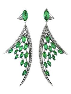 Shaun Leane white diamond and marquise-cut emerald earrings, from the Aerial collection.