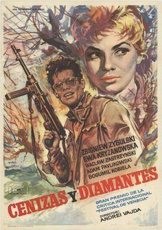 Spanish poster for ASHES AND DIAMONDS / Popiół i diament (Andrzej Wajda, Poland, 1958)