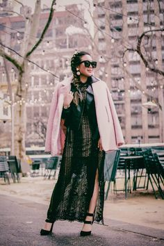 { lace maxi dress - perfect for spring (only $63) } Make Blog, Pink Accents, Lace Maxi, Gossip Girl, Kimono Top, In This Moment, Spring, Black, Tops