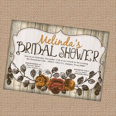 Vintage inspired, Bridal Shower invitation, Rustic, Fall Colors  printable, digital file