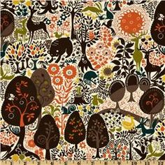 This is the fabric for the back of the quilt I'm making.  I definitely don't want the whole nursery to be so brown and dark - I mainly love this print for the adorable animals and bright pops of color.