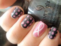 13 Polka Dot Nails, Striped Nails, Pink Nails, Polka Dots, Shellac Nail Art, Gel Nails, Nail Polish, Acrylic Nails, Breast Cancer Nails