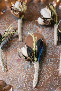 cotton boll + feather boutonnieres | Ashley Seawell #wedding