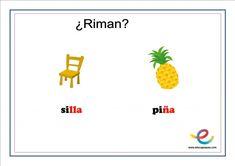 Fichas de lenguaje para primaria: ¿Qué rima con? Chart, Speech Pathology, Children Rhymes, User Experience, Note Cards, Lyrics