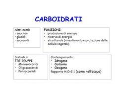 CARBOIDRATI Altri nomi: zuccheri glucidi saccaridi FUNZIONI:>