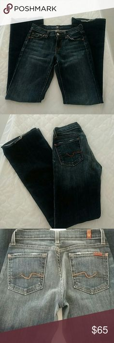 7 for all Mankind women's jeans Size 24 inseam 31. Blue with fade boot cut straight leg stretchy fit. 7 For All Mankind Jeans Boot Cut