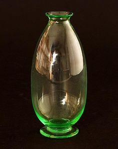Uranium green glass vase design H.P.Berlage 1928 executed by Glasfabriek Leerdam / the Netherlands