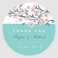 Pink Cherry Blossom Flower Wedding Favor Sticker - tap, personalize, buy right now! #rustic #and #vintage #wedding #favor Cherry Blossom Flowers, Wedding Flowers, Floral Wedding, Wedding Thank You, Vintage Pink, Custom Stickers, Colorful Backgrounds, Wedding Favors, Bridal Shower