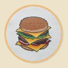 Cross Stitch Pattern Hamburger Cheese Food Yummy PDF by ttokki