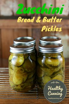 Zucchini bread and butter pickles. Delicious, fresh-tasting pickles that you can make at any time of year with zucchini (aka courgette) from your local green grocer — zucchini is usually affordable year round. #canning