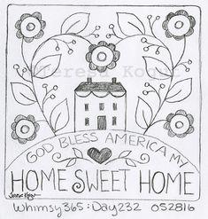 God Bless America My Home Sweet Home Stitchery