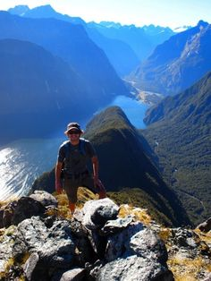 Magical Views from Mitre Peak,Milford Sound, New Zealand...have no idea who the guy is but the scenery = beautiful.