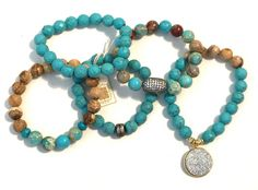 A personal favorite from my Etsy shop https://www.etsy.com/listing/276152620/set-of-5-turquoise-stretch-bead