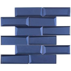 With the help of new technology, the back this blue glass mosaic is beveled to create a appearance. Bring depth and dimension to a feature wall or backsplash Glass Mosaic Tile Backsplash, Ceramic Subway Tile, Glass Subway Tile, Mosaic Glass, Wall Tiles, Kitchen Backsplash, Backsplash Ideas, Kitchen Benchtops, 3d Tiles