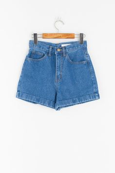 Fold Up Denim Short, Mid Blue