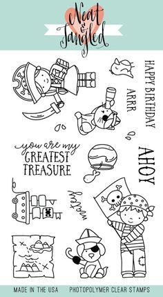 NEAT & TANGLED: Yo Ho Ho x Clear Photopolymer Stamp Set) Get ready for adventure with this set, filled with the most adorable pirates and their first mates! Scrapbook Supplies, Scrapbook Pages, Scrapbooking, Bridal Shower Scrapbook, How To Make A Paper Bag, Neat And Tangled, Recipe Scrapbook, Birthday Scrapbook, Tampons