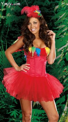 Parrot Princess Costume - She's ready for a rumble in the jungle. The four-piece, Parrot Princess costume includes a fully boned, red corset dress, a fun, multi-color, feather neckline detail, removable and adjustable shoulders straps, multi-layered red tutu skirt, matching colorful feather wings and colorful feather headpiece.