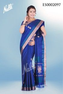 Blue Soft Silk saree with thread embossing on the border and body butta. Includes unstitched blouse..Please send an mail to eshop@nalli.com for more details or visit http://www.nallisilks.com/store/sarees/party-wear/soft-silks to see more collections.